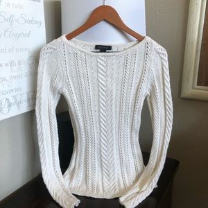 WHBM Fitted Cream Cashmere Blend Sweater XS